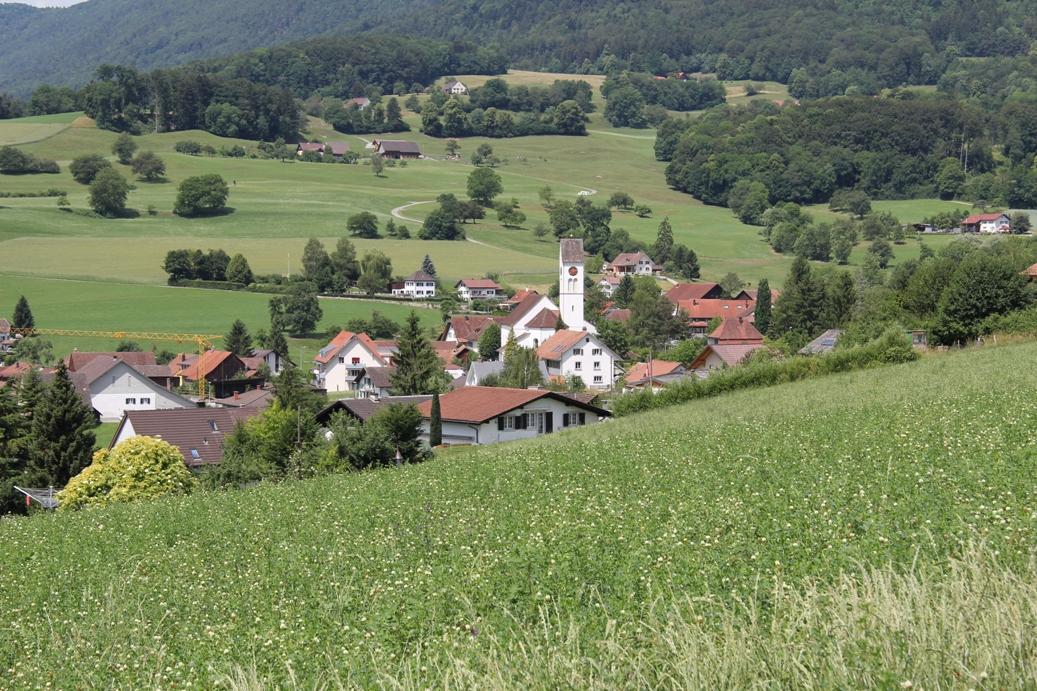 Blick vom Römerfeld Richtung Katholische Kirche